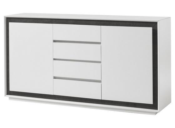 Komoda Durban - sivá/biela, Moderný, kompozitné drevo (160/84/40cm)