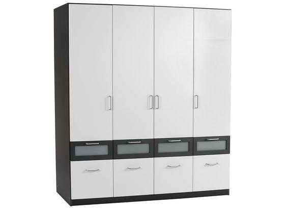 Skříň Šatní Nagold-extra - šedá/bílá, Konvenční, kompozitní dřevo/sklo (181/197/54cm)