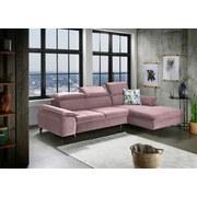 Wohnlandschaft in L-Form Brunello Rosa - Pink/Schwarz, KONVENTIONELL, Textil (280/175cm) - Livetastic