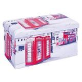 Sitzbox London B: 76 cm - Rot/Schwarz, KONVENTIONELL, Textil (76/38/38cm) - Livetastic