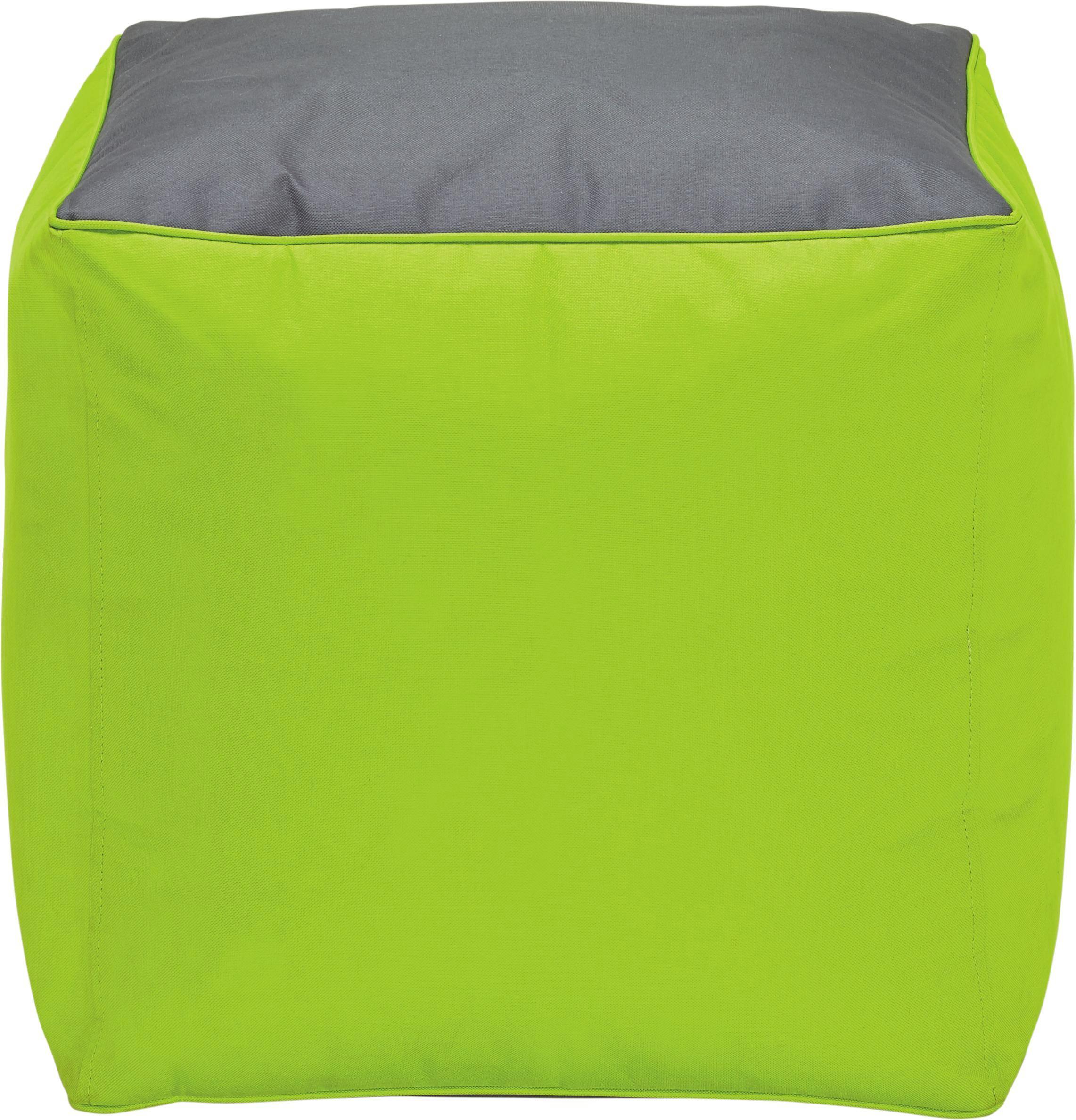 Taburet Cortona - zelená/antracitová, textil (40/40/40cm)