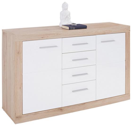 Komoda Sideboard Malta - farby dubu/biela, Moderný, drevený materiál (138/86/35cm)