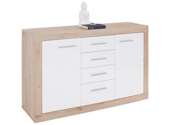 Komoda Sideboard Malta - farby dubu/biela, Moderný, kompozitné drevo (138/86/35cm)