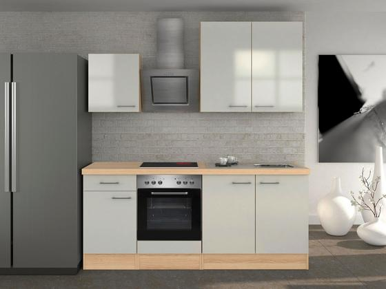 Küchenblock Abaco 210 cm Perlmutt - Edelstahlfarben/Perlmutt, MODERN, Holzwerkstoff (210/60cm)