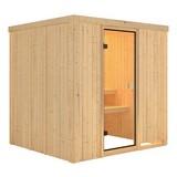 Sauna Cassis mit interner Steuerung am Ofen - Naturfarben, MODERN, Holz (196/198/196cm) - Karibu