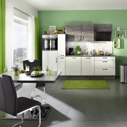 Küchenblock mit Hochglanzfronten in Weiß
