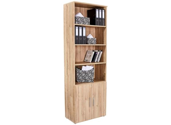 Regál Mindi - farby dubu, Moderný, kov/kompozitné drevo (80,5/219,9/34,1cm)