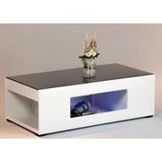 Couchtisch Glas + Beleuchtung Panda Schwarz/Weiß - Schwarz/Weiß, Design, Glas/Holzwerkstoff (120/63/40cm) - Carryhome
