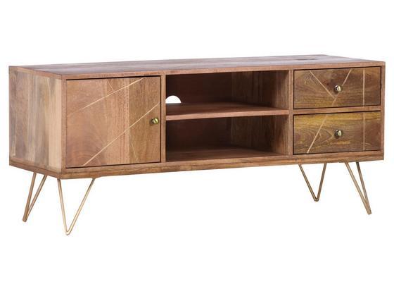 Lowboard Scan B: 130 cm - Goldfarben/Naturfarben, Design, Holz/Metall (130/57/53cm)