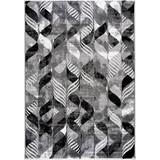 Hochflor Teppich Grau/Schwarz Enna 160x230 cm - Schwarz/Grau, MODERN, Textil (160/230cm)