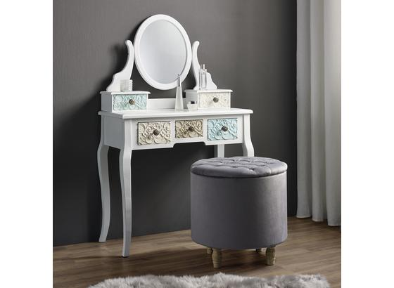 Taburet Rosalie - šedá, Moderní, dřevo/textilie (50/50cm) - Mömax modern living