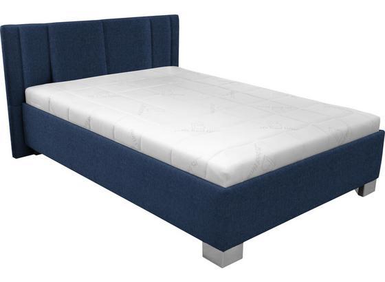 Čalouněná Postel Stilo 140x200 - bílá/tmavě modrá, dřevo/textil (214/162/97cm)