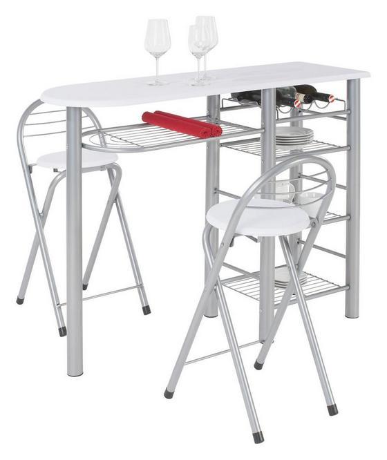 Bar Stams - biela/farby striebra, Konvenčný, kov/drevený materiál (120/88/40cm)