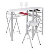 Bar Stams - Silberfarben/Weiß, KONVENTIONELL, Glas/Holzwerkstoff (120/88/40cm)