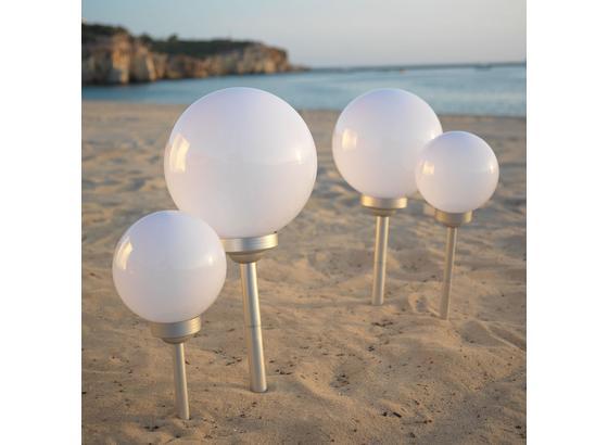 Solárne Svietidlo Adrian - biela/strieborná, plast (20/66cm) - Mömax modern living