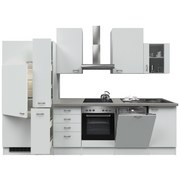 Küchenblock Wito 310 cm Weiß - Edelstahlfarben/Weiß, MODERN, Holzwerkstoff (310/60cm)