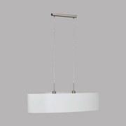 Hängeleuchte Pasteri H: 110 cm mit Textil-Schirm - Weiß/Nickelfarben, MODERN, Textil/Metall (100/28/110cm)