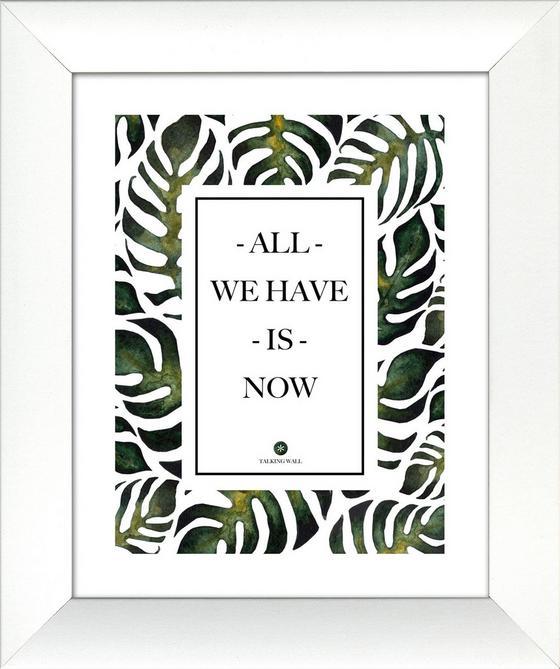Bild mit Rahmen Green & Black II - Schwarz/Weiß, Design, Holz/Holzwerkstoff (28/34cm)