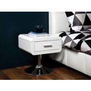 Nachtkästchen Weiß/Chrom H: 45 cm Comfort - Chromfarben/Weiß, Design, Holzwerkstoff (40/45/40cm) - Carryhome