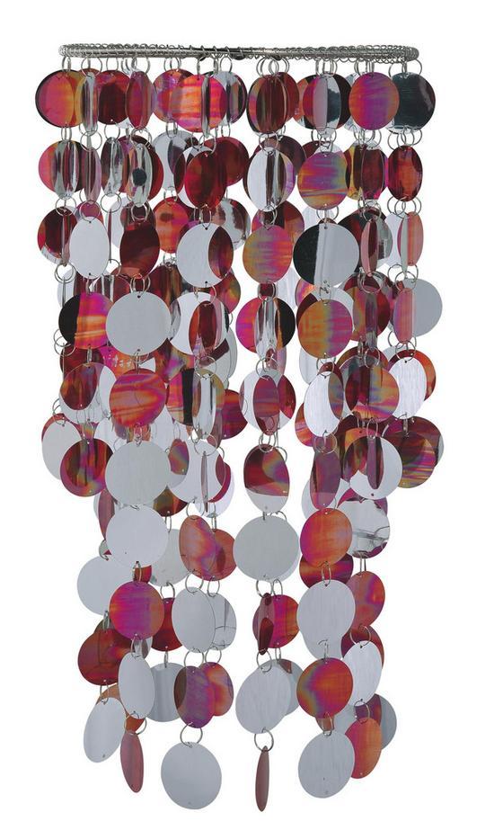 Leuchtenschirm Bianka - Rot/Silberfarben, KONVENTIONELL, Kunststoff/Metall (22/48cm) - Luca Bessoni