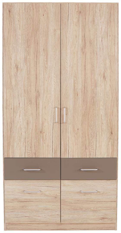 Skříň Šatní Aalen-extra - šedá, Konvenční, dřevěný materiál (91/197/54cm)