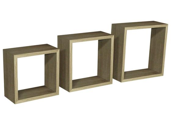 Regál Nástěnný Simple 3 - barvy dubu, Moderní, kompozitní dřevo/umělá hmota (30/30/12cm)