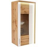 Hängevitrine Eleganza inkl. LED- Beleuchtung B:65cm Dekor - Eichefarben/Alufarben, MODERN, Glas/Holzwerkstoff (65/134.3/38cm)