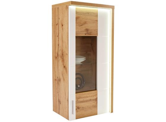 Závěsná Vitrína Eleganza - bílá/barvy dubu, Moderní, kompozitní dřevo/sklo (65/134.3/38cm)