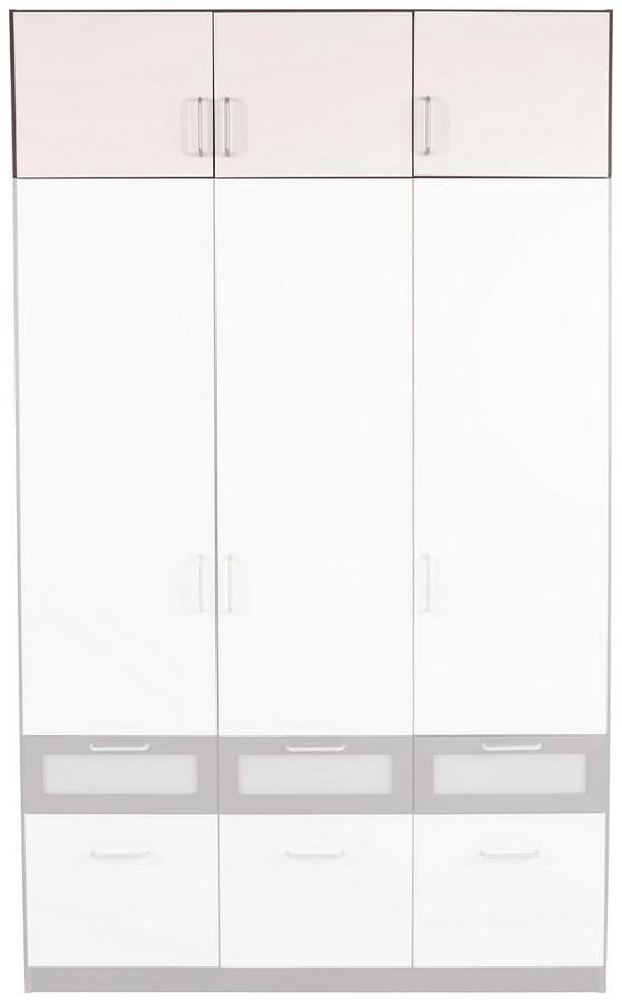 Aufsatzschrank Nagold Extra, 136cm - Weiß/Grau, KONVENTIONELL, Holzwerkstoff (136/39/54cm)