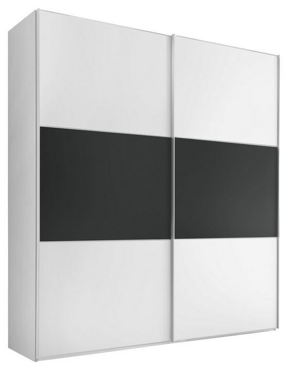 Schwebetürenschrank Includo 188cm Weiß/vulkan - Anthrazit/Weiß, MODERN, Glas/Holzwerkstoff (188/222/68cm)