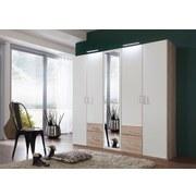 Drehtürenschrank mit Spiegel 225cm Fly, Weiß/ Eichendekor - Eichefarben/Weiß, Design, Glas/Holzwerkstoff (225/210/58cm) - Carryhome