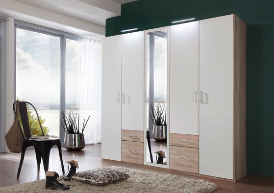 Fünftüriger Kleiderschrank in Weiß und Eiche Dekor mit Schubladen