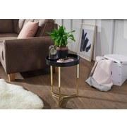 Beistelltisch Eva D: 40cm Schwarz/goldfarben - Goldfarben/Schwarz, Design, Holz/Holzwerkstoff (40/51/40cm) - Carryhome