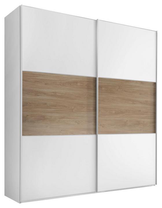 Schwebetürenschrank Includo 222cm Weiß/puccini - Eichefarben/Weiß, MODERN, Holzwerkstoff (200/222/68cm)