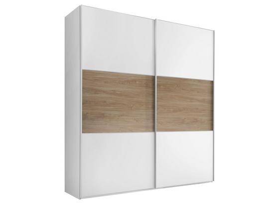 Schwebetürenschrank Includo B:188cm Weiß/ Eiche Dekor - Eichefarben/Weiß, MODERN, Glas/Holzwerkstoff (188/222/68cm)
