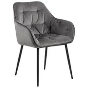 Stuhl Brooke B: 58 cm Grau - Dunkelgrau/Schwarz, Trend, Textil/Metall (58/83/55cm) - Livetastic