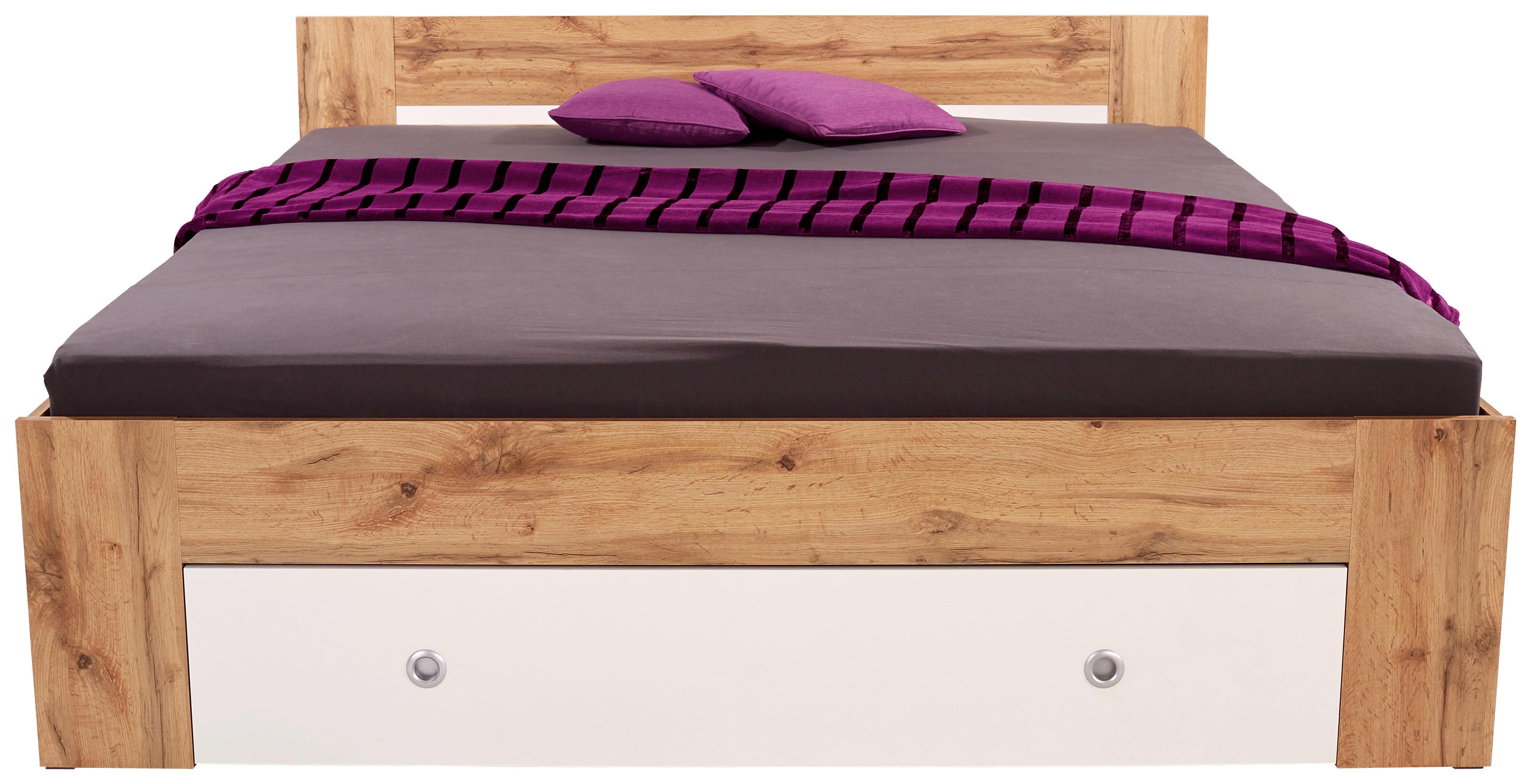 Ágykeret Azurro 180x200cm - tölgy színű/fehér, modern, faanyagok (204/75/185cm)
