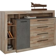 Komoda Sideboard Chanton - barvy borovice/tmavě šedá, Lifestyle, kov/dřevěný materiál (160,5/107,3/43,4cm) - BASED