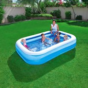 Bestway Kinderschwimmbecken Blue Rectangular Family Pool - Blau/Weiß, KONVENTIONELL, Kunststoff (262/175/51cm) - BESTWAY