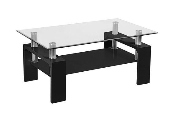 Konferenčný Stolík Silvia - čierna/číre, Moderný, drevený materiál/sklo (100/45/60cm)