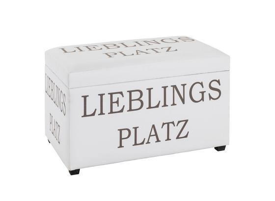 Truhenbank Chest B: ca. 65 cm Lederlook - Weiß/Kupferfarben, Basics, Holzwerkstoff/Textil (65/42/40cm)