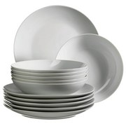 Tafelservice Barca 12-Teilig Weiß - Weiß, Basics, Keramik (27,5/24,5/28,5cm)