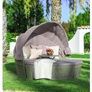 Gartenmuschel mit Dach Costa Rica, Braun/ Grau - Braun/Grau, MODERN, Kunststoff/Textil (187/72-150/181cm) - Luca Bessoni
