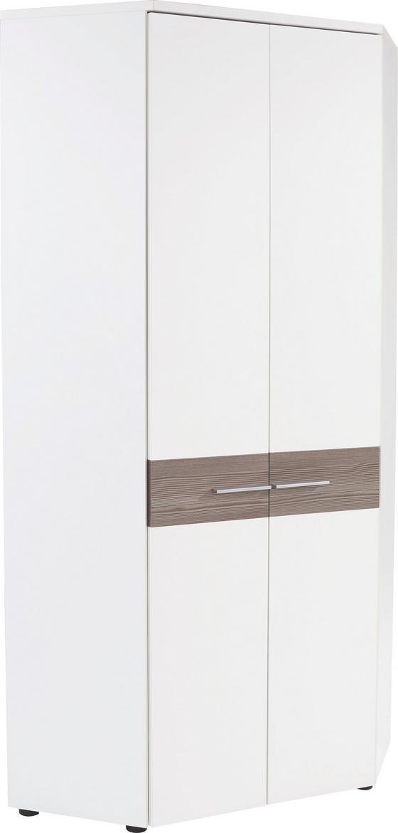 Rohová Skriňa Monza - biela/tmavohnedá, Moderný, kompozitné drevo (80/196/80cm)
