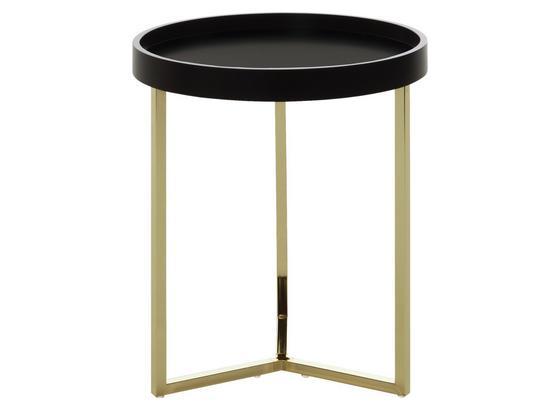 Beistelltisch mit Abnehmbarer Tischplatte Eva Schwarz + Gold - Goldfarben/Schwarz, Design, Holz/Holzwerkstoff (40/51/40cm) - Livetastic