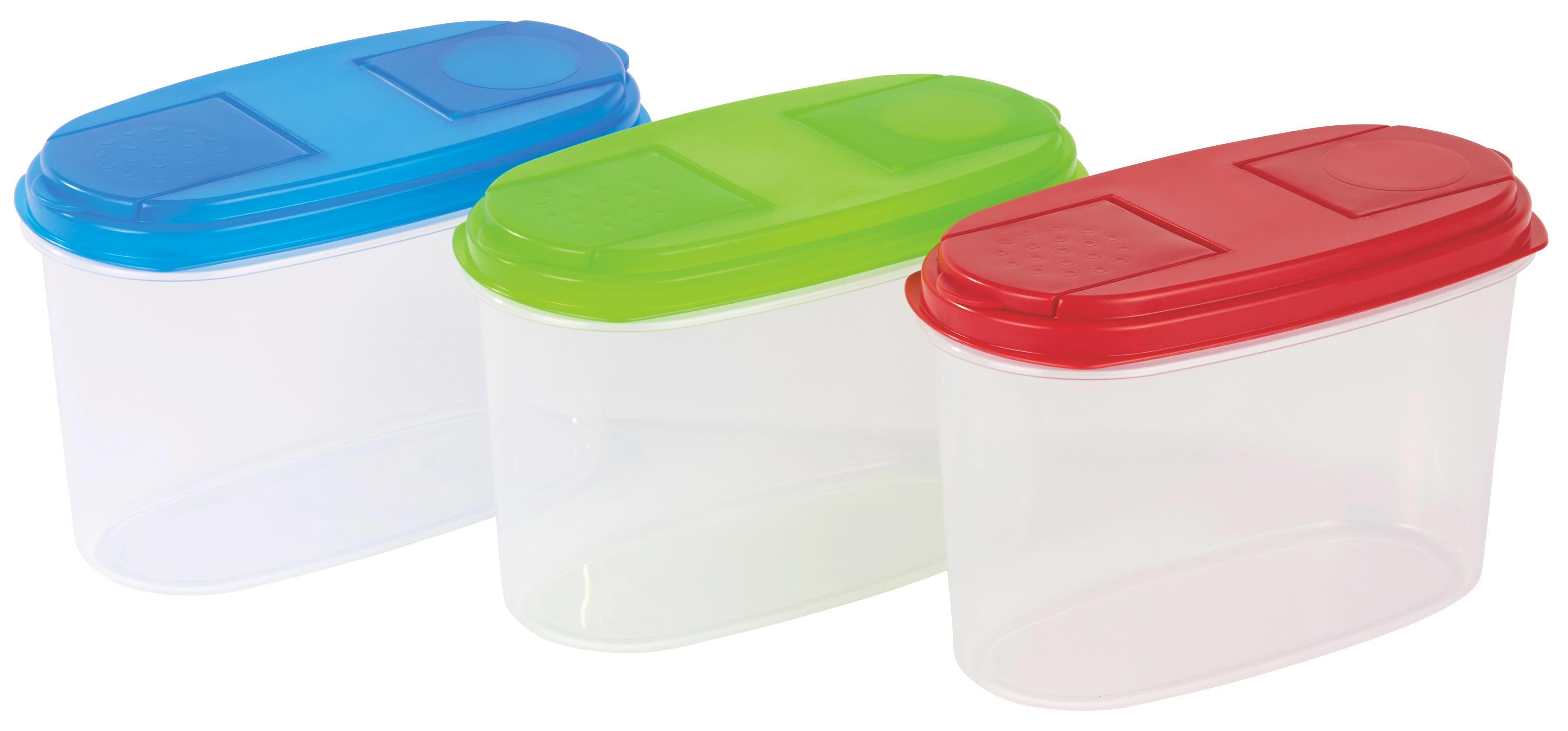 Tárolódoboz Color - piros/áttetsző, konvencionális, műanyag (9.5/12/18.5cm)