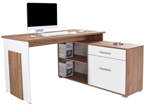Rohový Psací Stůl Ludwig - bílá/barvy dubu, Moderní, kompozitní dřevo (140/76/130cm)