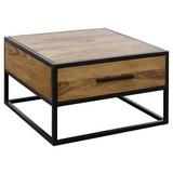 Couchtisch Holz Massiv mit Schublade, Sheesham - Sheeshamfarben/Schwarz, Design, Holz/Metall (65/65/38cm) - Livetastic