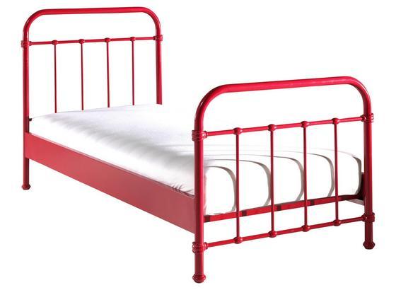 Kinder-/Juniorbett New York 90x200 cm Rot - Rot, ROMANTIK / LANDHAUS, Metall (90/200cm) - Livetastic