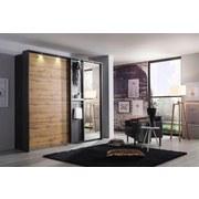 Schwebetürenschrank Ohio B: 226 cm - Eichefarben/Grau, KONVENTIONELL, Glas/Holzwerkstoff (226/210/65cm) - Carryhome